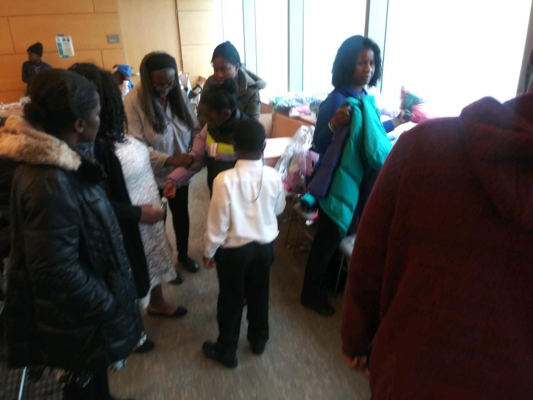 coat distribution to children and families